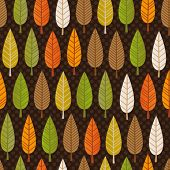 Seamless retro tree pattern with forest illustration in vector