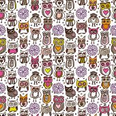 Seamless doodle owl pattern background in vector