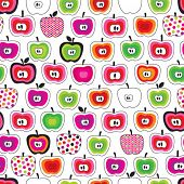 Seamless cute retro apple pattern in vector