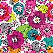 Seamless retro colourfull flower pattern in vector
