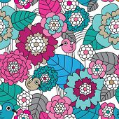Seamless retro flower and birds pattern background in vector