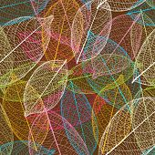 Cute seamless retro leaf autumn pattern in vector