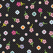 Happy summer flowers pattern in black wallpaper in vector