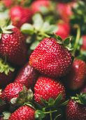 Fresh Strawberry Texture, Wallpaper And Background. Wet Strawberries With Leaves, Selective Focus. S poster