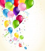 Festive balloons background with space for text