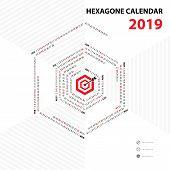 2019 Calendar Template.hexagon Shape Calendar.calendar 2019 Set Of 12 Months.yearly Calendar Vector  poster