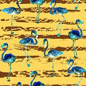 Flamingo Pattern. Tropical Summer Yellow Pink Print. Exotic Spring Textile Background With Birds. Fa poster