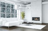 White living room with brick texture fireplace next to sofa and black table standing on white rug an poster