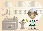 Happy  little cook on the kitchen- vector illustration