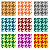 colorful vector set of seamless houndstooth patterns
