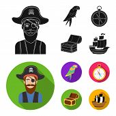 Pirate, Bandit, Hat, Bandage .pirates Set Collection Icons In Black, Flat Style Vector Symbol Stock  poster