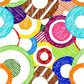 abstract sketchy doodle circles seamless background