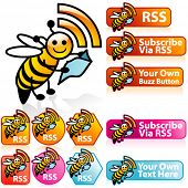 Vector Smiley miel abeja RSS Set