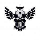Sport Logo For Weightlifting Gym And Fitness Club, Vintage Style Vector Emblem With Wings. With Dumb poster