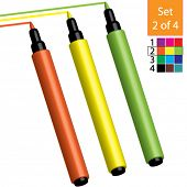 Vector Coloring / Marker Pens (Set 2 of 4) Orange, Yellow & Lime