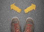 Choice Concept With Two Path On Asphalt poster