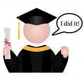 Vector Graduation student icon with speech bubble saying