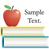 Vector Shiny red apple on two books