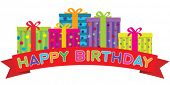 Vector Happy Birthday red banner in front of a row of colorfully decorated gift boxes. Gradient free illustration.