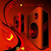 Set of flaming speakers and other sound elements.