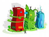 pic of reprocess  - Vector illustration of an eco friendly town - JPG