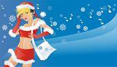 Cute girl with a bag dancing in santa suit