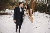 Gorgeous Wedding Couple Walking In Winter Snowy Park. Stylish Bride In Coat And  Groom Embracing Und poster