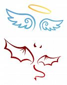 stock photo of halo  - Angel and devil attributes - JPG