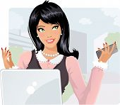 Smiling businesswoman with cellphone