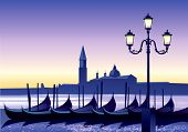 Sunset in Venice - vector illustration