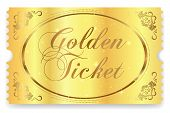 Golden Ticket, Gold Ticket (tear-off) Vector Template Design With Star Golden Background. Useful For poster