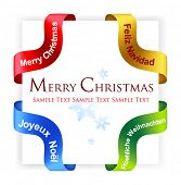 Set of four vector ribbons, christmas greetings on different languages.