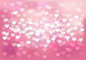 Vector Defocused lights in heart shape, pink color, no size limit. proportion of A4 format horisonta
