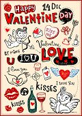 Vector valentine doodles set