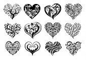 Set of 12 tattoo hearts, vector image.