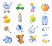 stock photo of baby doll  - Set of toys and accessories for baby boy - JPG