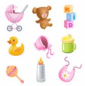 Set of 9 vector toys and accessories for baby girl.