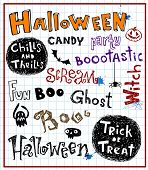 halloween text, vector doodles