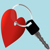 Love The Car_Heart Auto Key & Shiny Ring