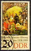 Postage stamp GDR 1989 Battle Scene, Detail by Werner Tubke