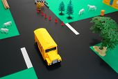 Driver Education Toy School Bus On Dangerous Road