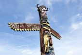 SCIEGNY, POLAND - JUNE 24: A colorful totem pole in Western City on June 24, 2012 in Sciegny, Poland