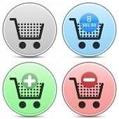 Vector shopping cart trolley icon matte button set. Includes