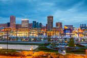 picture of maryland  - View on downtown of Baltimore at night - JPG