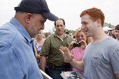 RIDGEFIELD PK, NJ-JULY 14: Famous 77 WABC radio host and dog lover Mark Levin speaks to a fan seekin