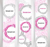 Abstract, romantic, creative website banners, set of vector design