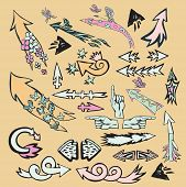 Art colorful vector set, funny, cartoon arrows set with flowers and butterflies for design