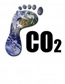 picture of global-warming  - Earth footprint with CO2 text to warning to global warming - JPG