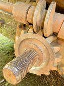 Close-up of old historic rusty iron worm gear