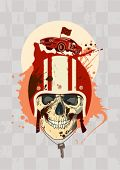 Racing design template with racer skull.